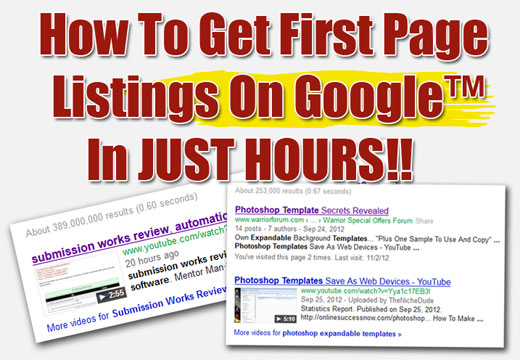How To Get First Page Listings On Google
