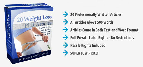 20 Weight Loss PLR Articles