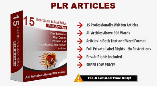 Heartburn & Acid Reflux PLR Articles